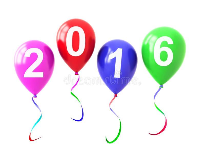 Buntes Ballon-Jahr 2016 lokalisiert auf Weiß stockbild