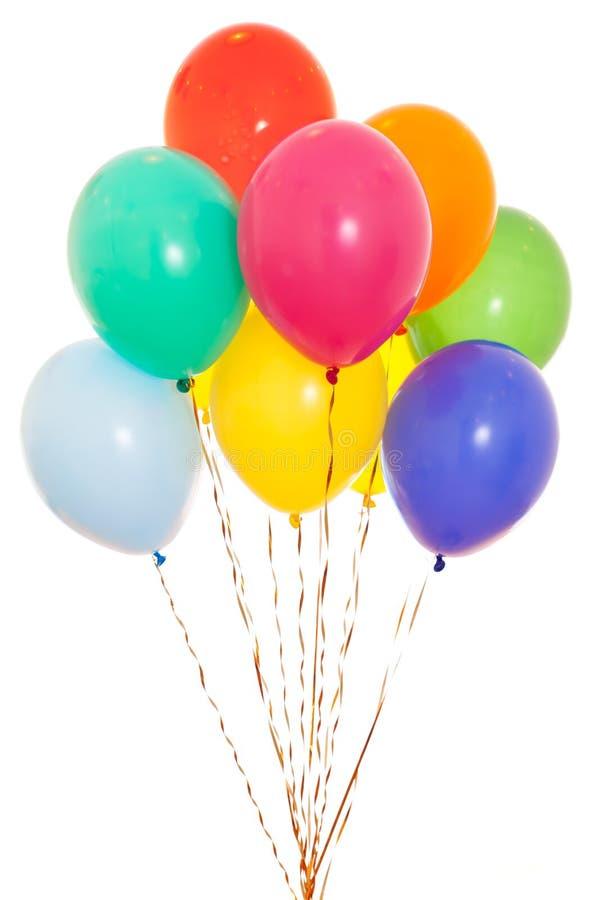 Buntes Ballonbündel getrennt auf Weiß lizenzfreies stockfoto