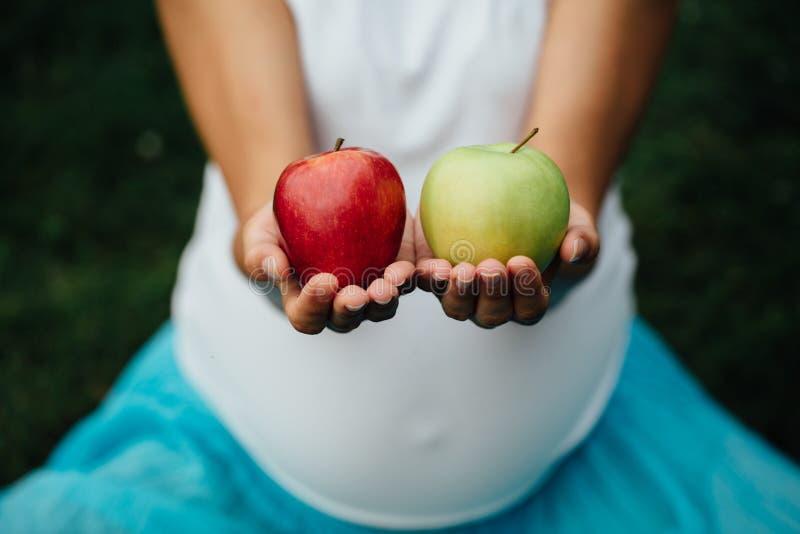 Buntes Bild von weiblichen Händen mit grünem und rotem Apfel stockfotos