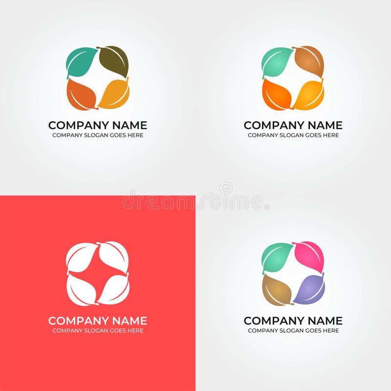 Buntes Blatt Logo Icon Template stock abbildung