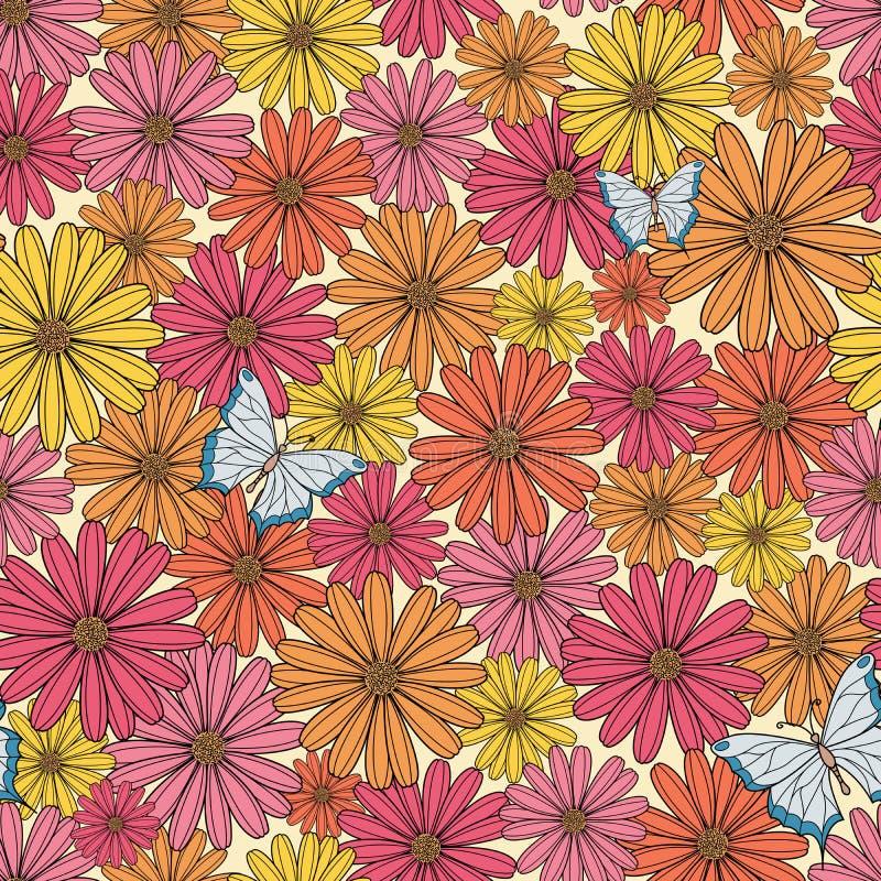Buntes Blumenmuster mit Schmetterling stock abbildung