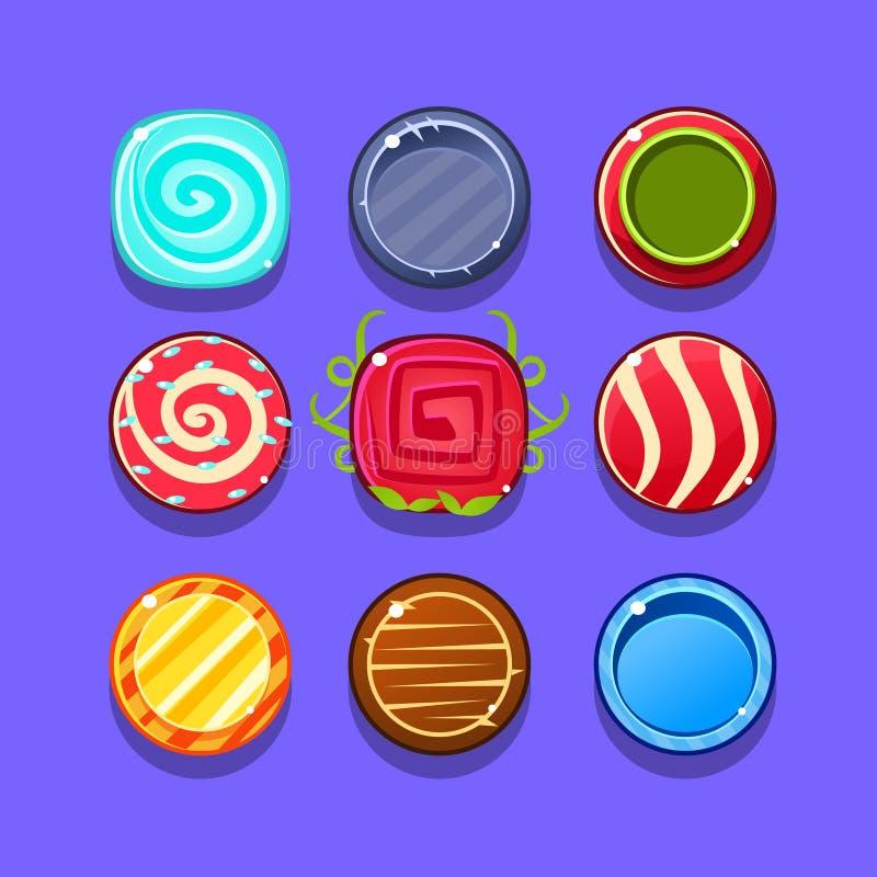 Buntes Bonbon-Blitz-Spiel-Element-Schablonen-Design eingestellt mit runden Bonbons für drei in der Reihen-Art des Videos stock abbildung