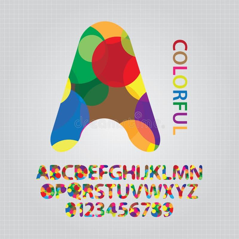 Buntes Deckungs-Kreis-Alphabet und Zahlen Vecto stock abbildung