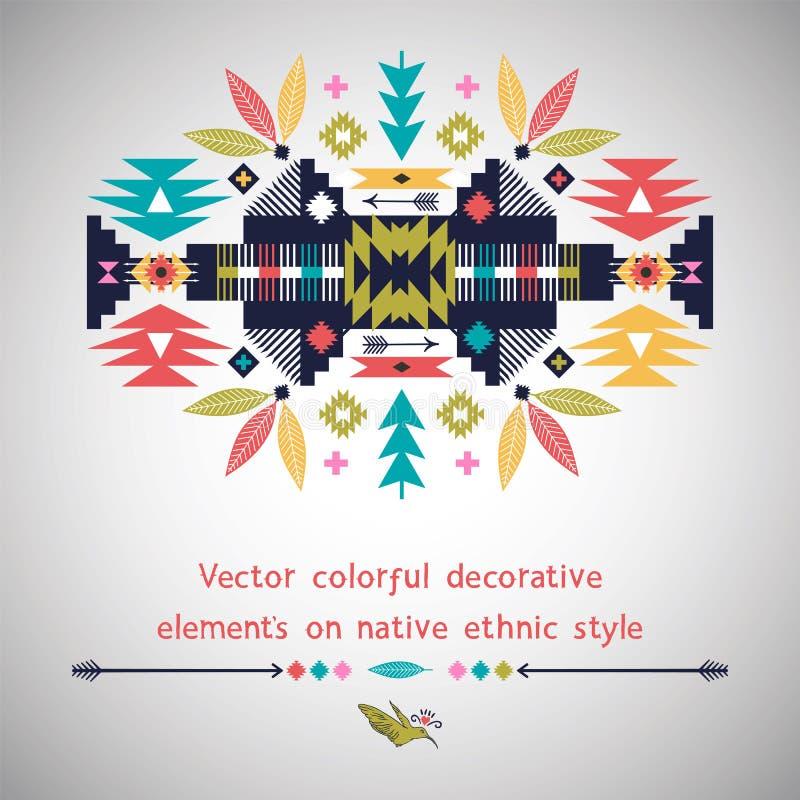 Buntes dekoratives Element des Vektors auf Eingeborenem stock abbildung