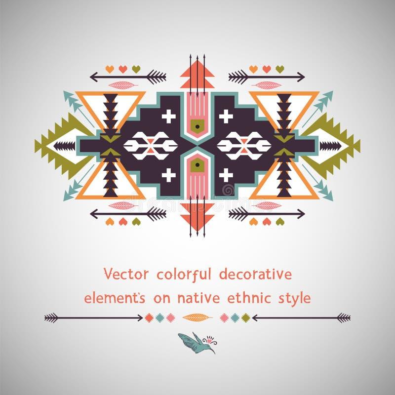 Buntes dekoratives Element des Vektors auf Eingeborenem lizenzfreie abbildung
