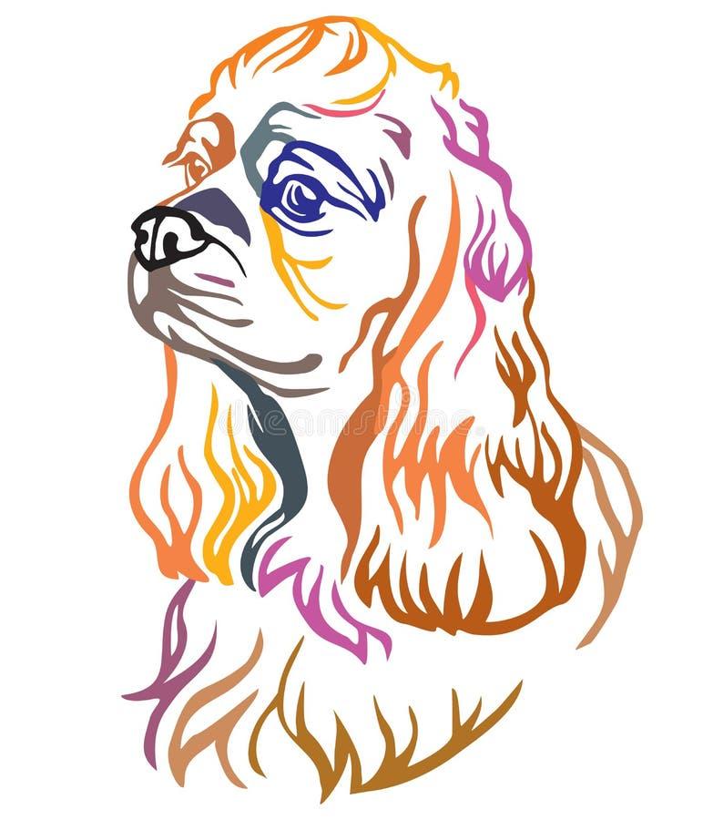 Buntes dekoratives Porträt der Hundeamerikaner-Cocker Spaniel-Vektorillustration stock abbildung