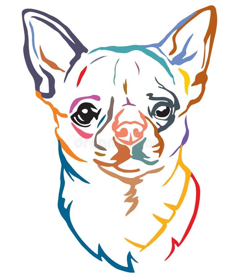 Buntes dekoratives Porträt der Hundechihuahua-Vektorillustration vektor abbildung
