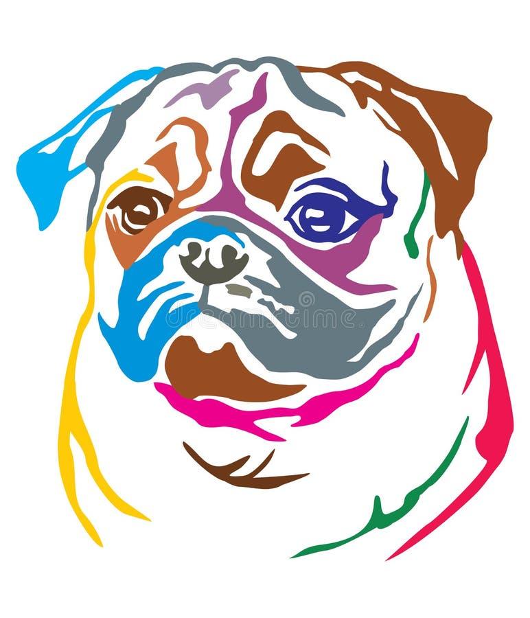 Buntes dekoratives Porträt der Hundpug-Vektorillustration stock abbildung