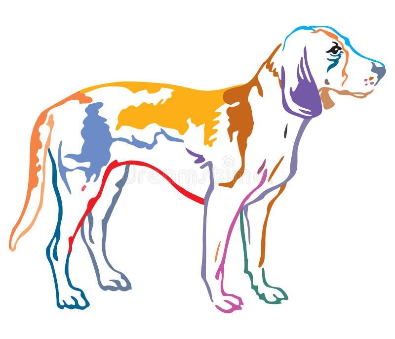 Buntes dekoratives Porträt Hundeder estnischen Jagdhund-Vektorillustration vektor abbildung