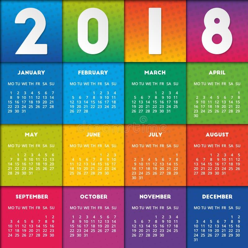 Buntes Design des Kalenders 2018 stock abbildung