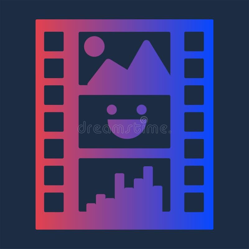 Buntes Diafilm für Multimedia-Produktions-Ikone lizenzfreie abbildung