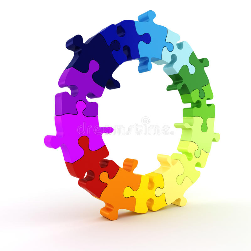 buntes Diagrammrad des Puzzlespiels 3d lizenzfreie abbildung
