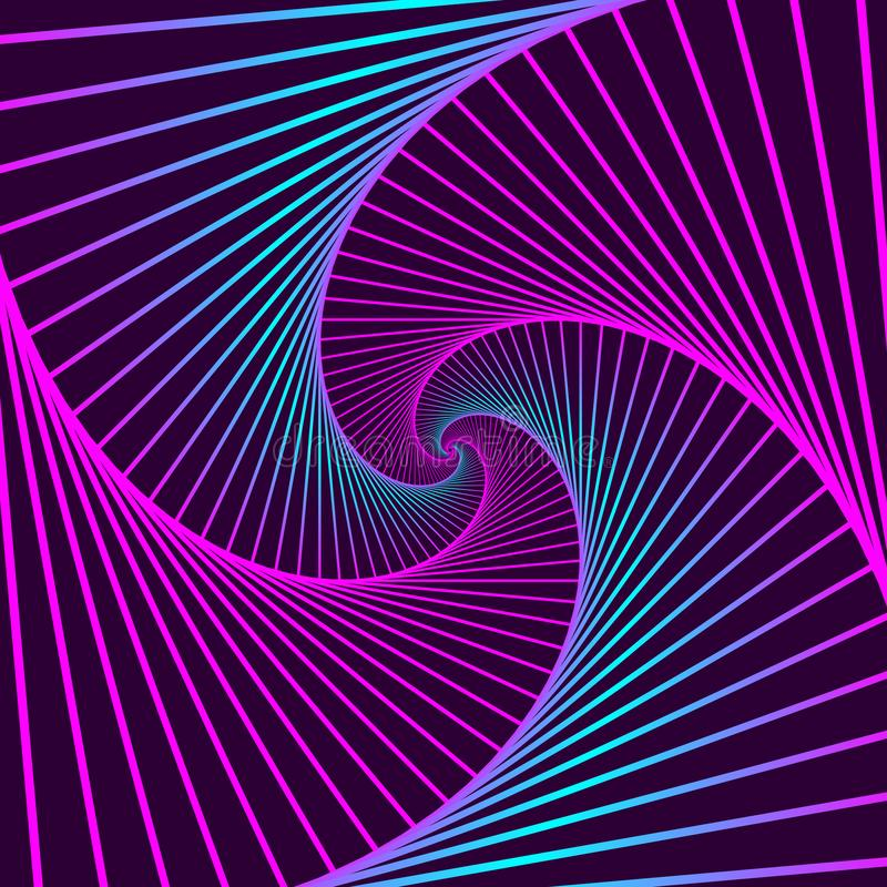 Buntes drehendes geometrisches Veilchen und blaue Quadrate Geometrische abstrakte optische Täuschung auf dunklem violettem Hinter stock abbildung