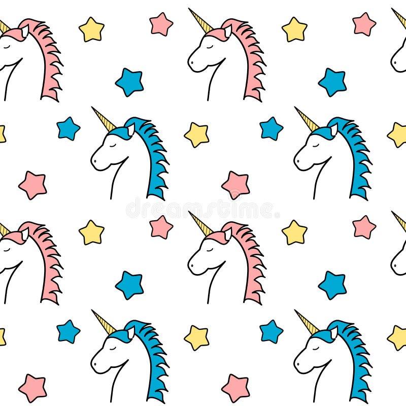 Buntes Einhorn der netten Karikatur mit Muster-Hintergrundillustration der Sterne nahtloser lizenzfreie abbildung