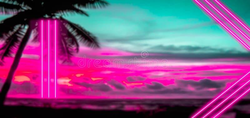 Buntes Feiertags- und Konzept80s Zeichen mit rosa Neonlichtern stock abbildung