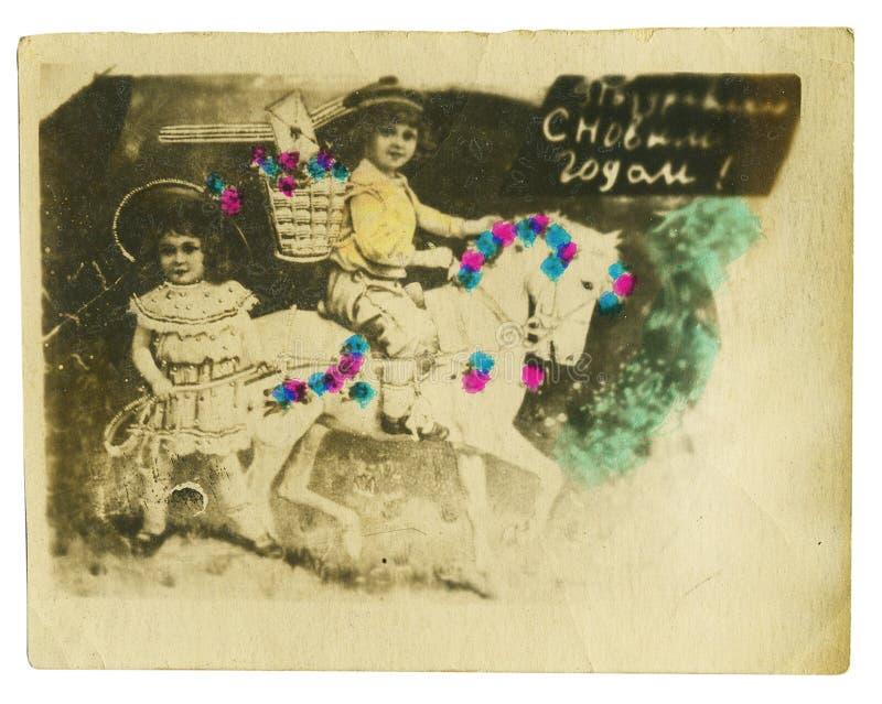 Buntes Foto der Weinlese eines jungen Schönheitspaares stockbild