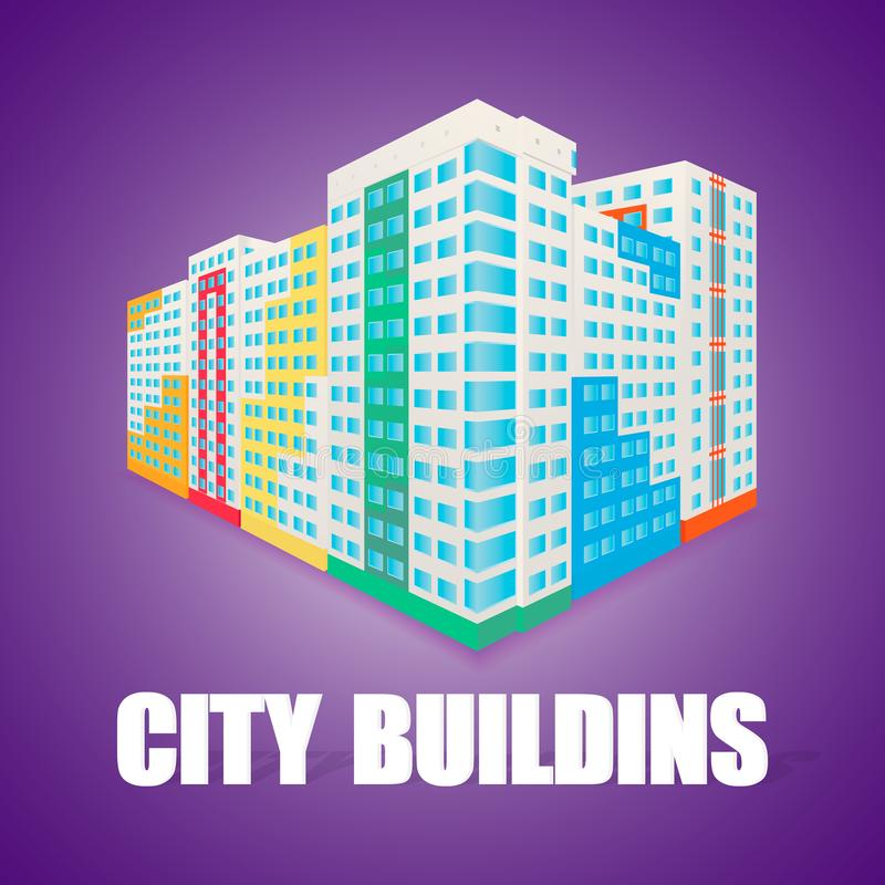 Buntes Gebäude des hohen Aufstieges am perspectice Haus vektor abbildung