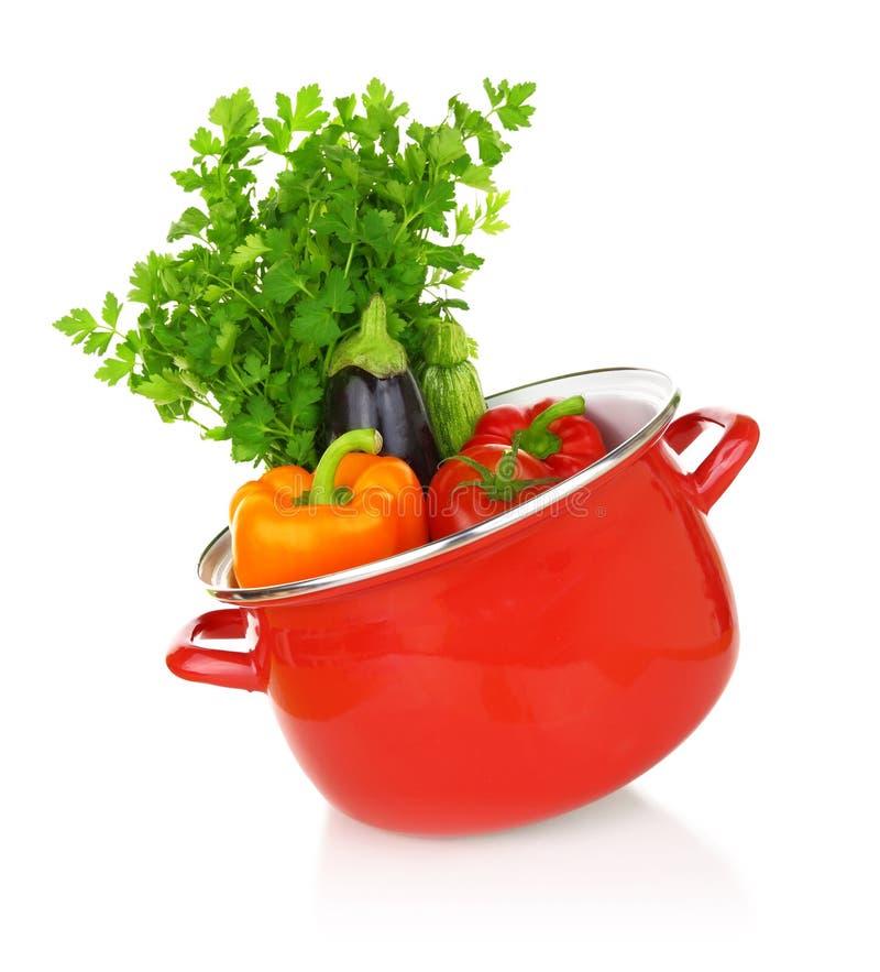 Buntes Gemüse in einem roten kochenden Topf lizenzfreies stockfoto