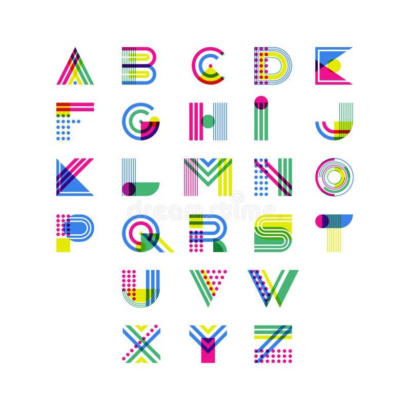 Buntes geometrisches Alphabet Lateinische dekorative Gusssymbole Vektorlogogestaltungselemente stock abbildung