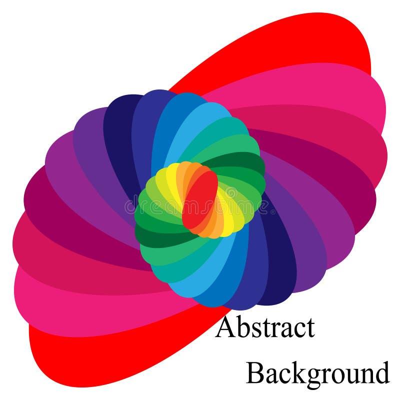 Buntes gewundenes Zusammenlaufen zur Mitte Elliptisches Gestaltungselement vektor abbildung