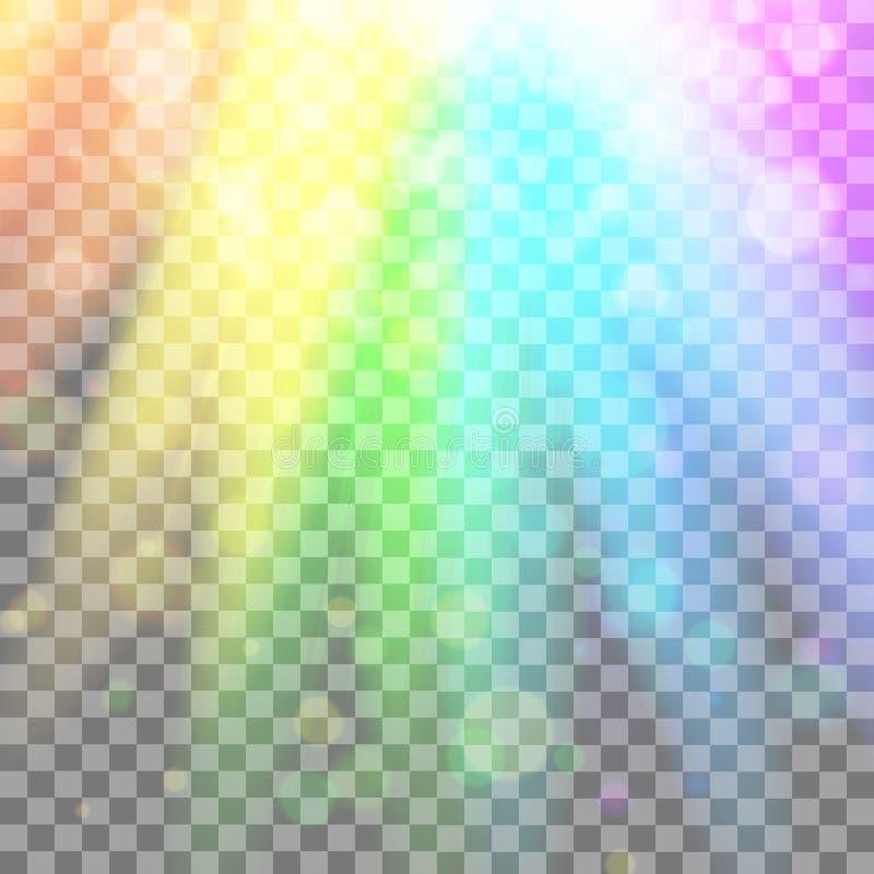 Buntes glühendes Licht Regenbogen-Strahlen Regenbogen Blendend Effekt mit Transparenz Grafisches Element für Dokumente, Schablone lizenzfreie abbildung