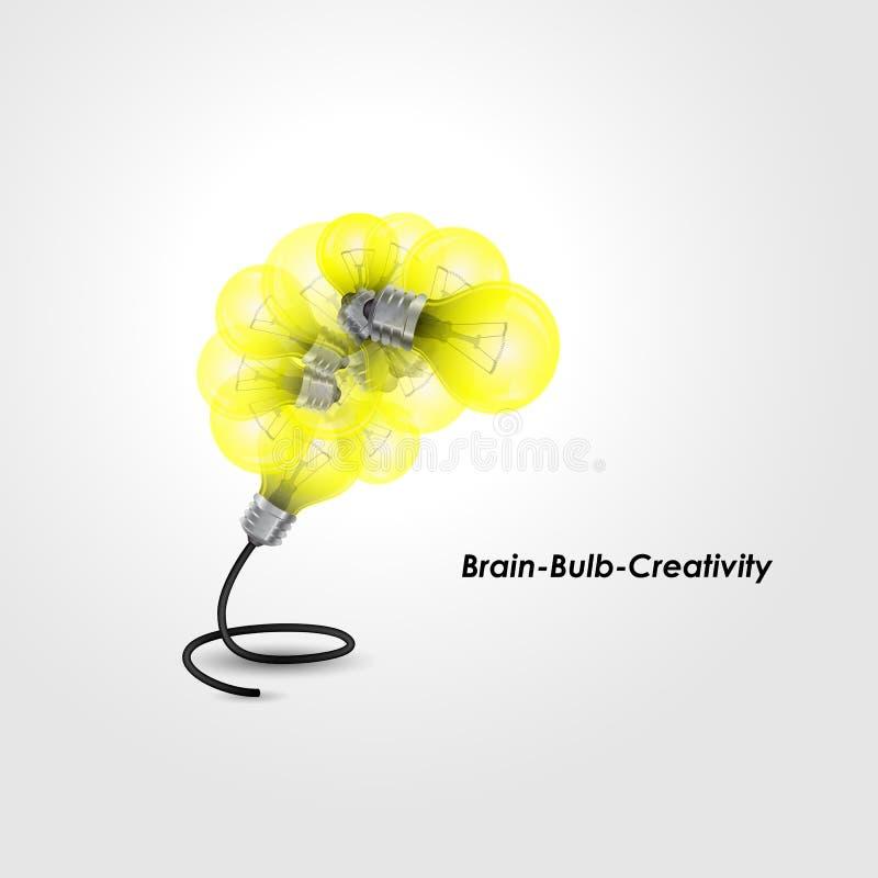 Buntes Glühlampelogodesign und kreatives Gehirnideenkonzept stock abbildung