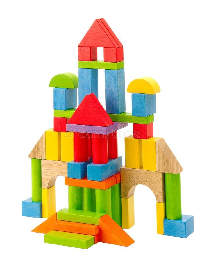 Buntes hölzernes Spielzeugschloß lizenzfreies stockfoto