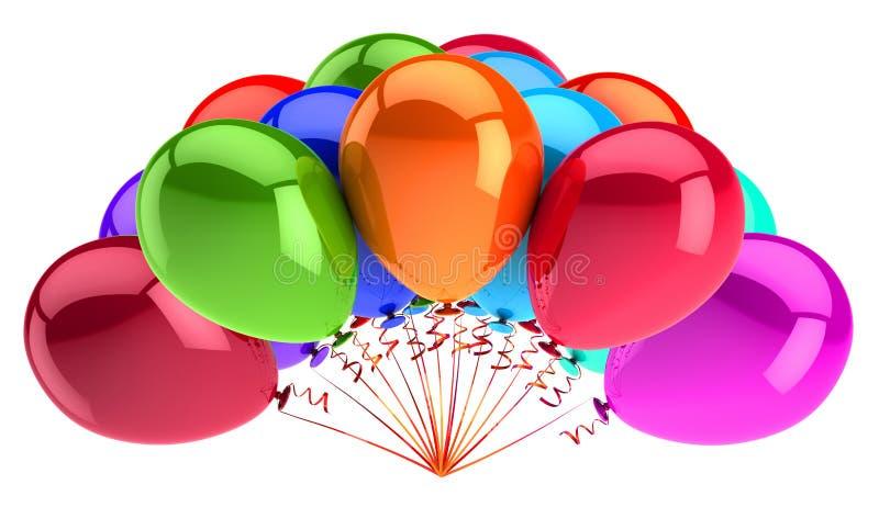 Buntes Heliumballonbündel drehen Geburtstagskarnevals-Parteidekoration vektor abbildung