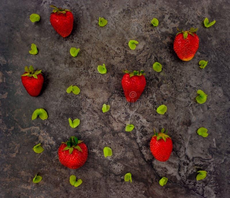 Buntes helles Muster von Erdbeeren und von Blättern Flache Lage lizenzfreies stockbild