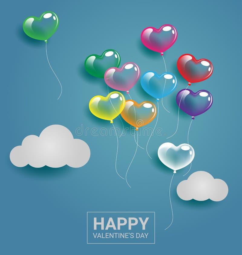 Buntes Herz steigt mit Wolke für Valentinstag und Hochzeit im Ballon auf stock abbildung
