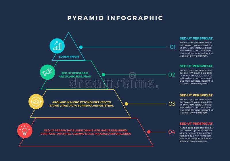 Buntes Hierarchie-Pyramide Infographic-Element stock abbildung