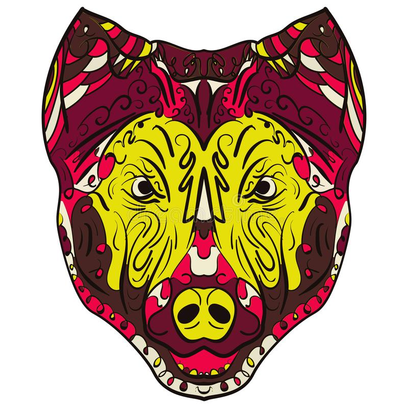Buntes Hund-zentangle stilisierter Hauptvektor vektor abbildung