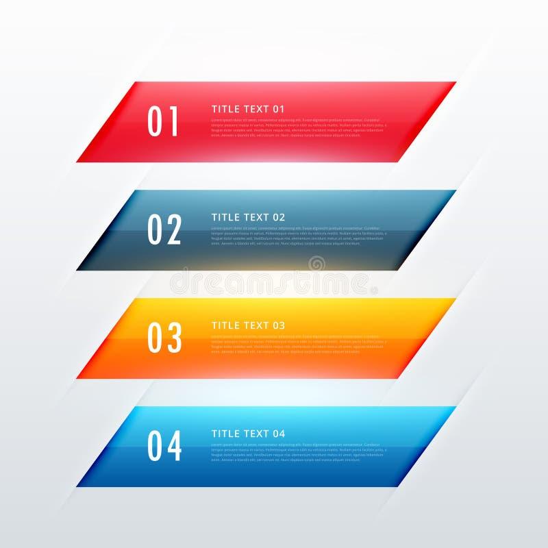 Buntes infographic Fahnendesign mit vier Schritten lizenzfreie abbildung