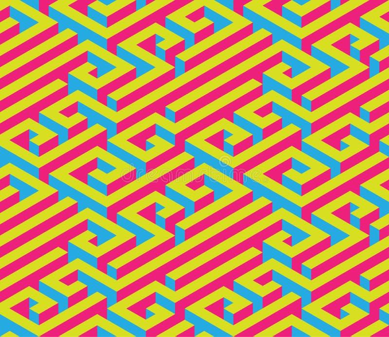 Buntes isometrisches Labyrinth Nahtlose Verzierung Helle kontrastierende Farben Rot, blau, Gelb stock abbildung