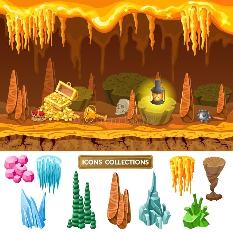 Buntes isometrisches Spiel-Schatz-Höhlen-Konzept stock abbildung