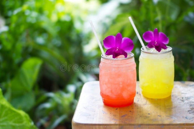 Buntes kühles Getränk im Sommer auf Naturhintergrund stockbild