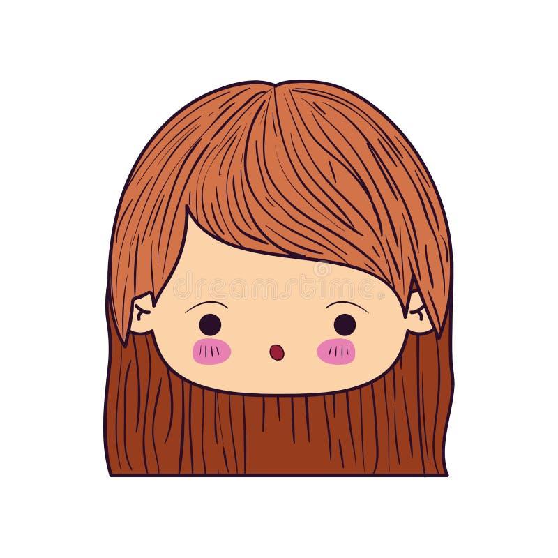 Buntes Karikatur kawaii wenig Mädchen mit dem geraden kurzen Haar und Gesichtsausdruck der Überraschung gegenüberstellen stock abbildung