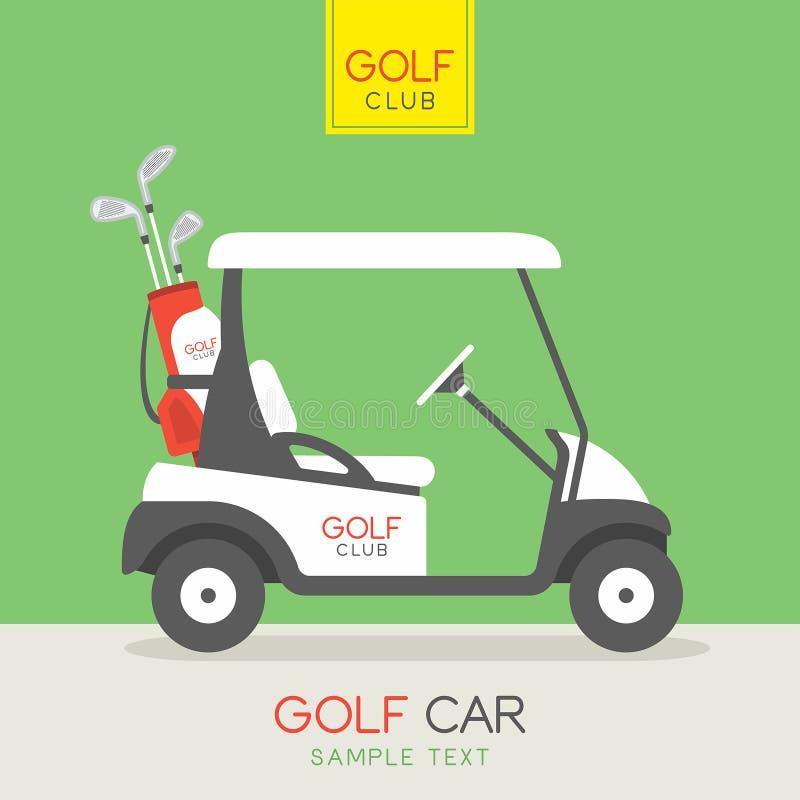 Buntes klassisches Golfauto auf weißem Hintergrund stock abbildung