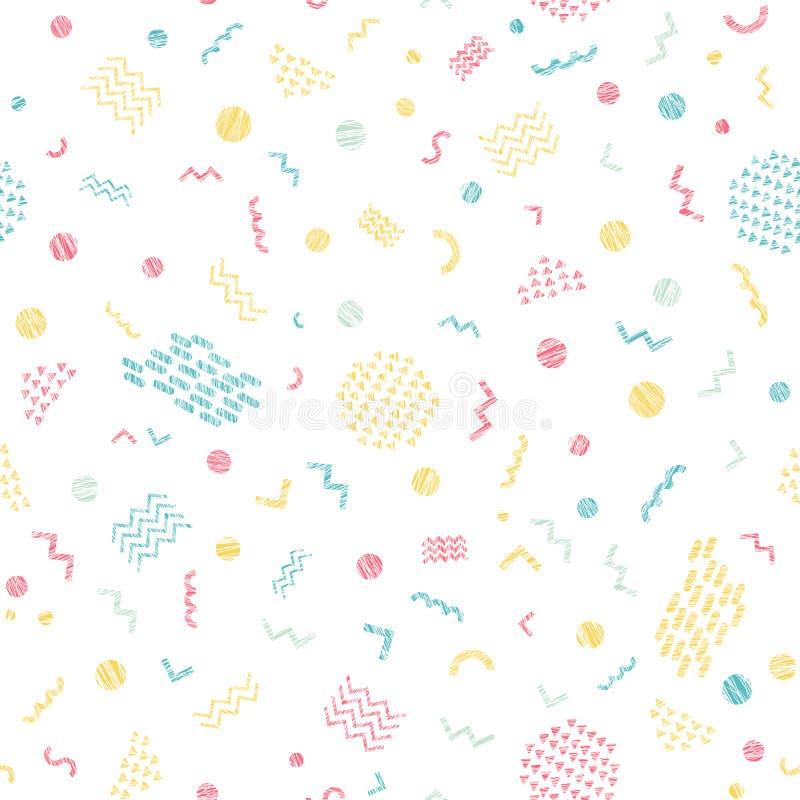 Buntes kratziges nahtloses Muster Helle Farben stock abbildung