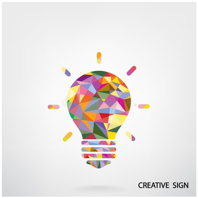 Buntes kreatives Glühlampezeichen vektor abbildung