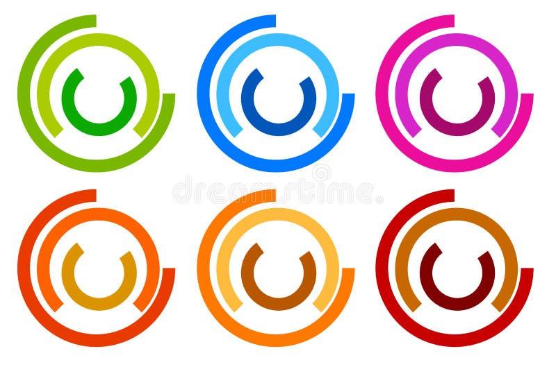 Buntes Kreislogo, Ikonenschablonen konzentrisches segmentiertes circl vektor abbildung