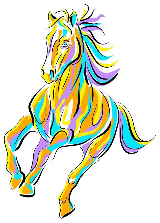 Buntes laufendes Pferd lizenzfreie abbildung