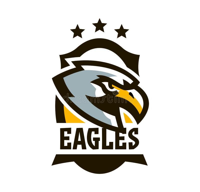 Buntes Logo, Aufkleber, Emblem eines Adlers Fliegenvogel, Jäger, Fleischfresser, gefährliches Tier, Schild, Beschriftung Maskottc stock abbildung