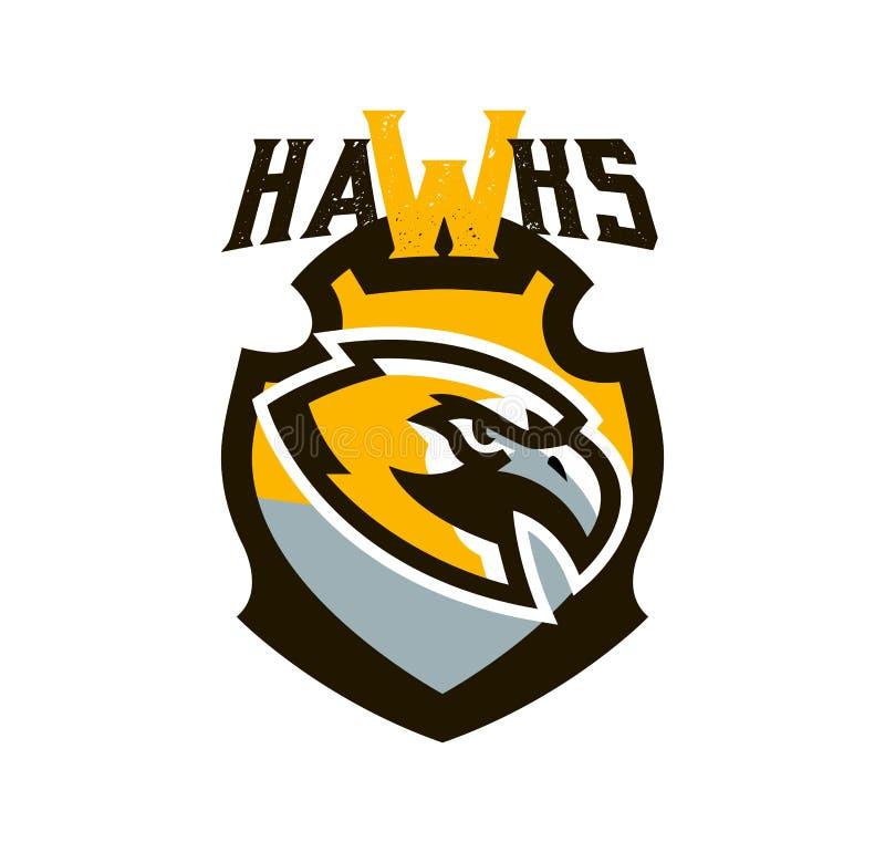 Buntes Logo, Aufkleber, Emblem eines Falken Fliegenvogel, Jäger, Fleischfresser, gefährliches Tier, Schild, Beschriftung Maskottc stock abbildung
