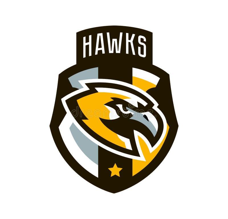 Buntes Logo, Aufkleber, Emblem eines Falken Fliegenvogel, Jäger, Fleischfresser, gefährliches Tier, Schild, Beschriftung Maskottc lizenzfreie abbildung