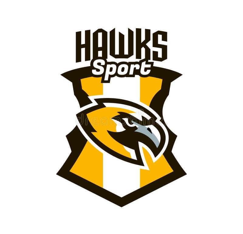 Buntes Logo, Aufkleber, Emblem eines Falken Fliegenvogel, Jäger, Fleischfresser, gefährliches Tier, Schild, Beschriftung Maskottc vektor abbildung