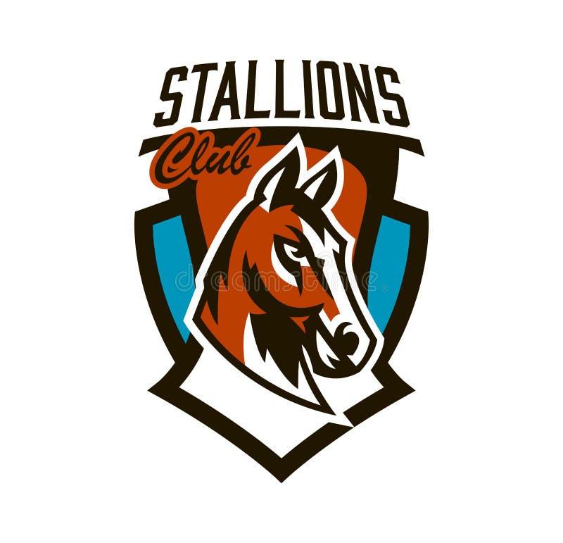 Buntes Logo, Aufkleber, Pferdeemblem Schöner Hengst, Pferderennen, schnelles Tier, Maskottchen des Sportvereins schild vektor abbildung