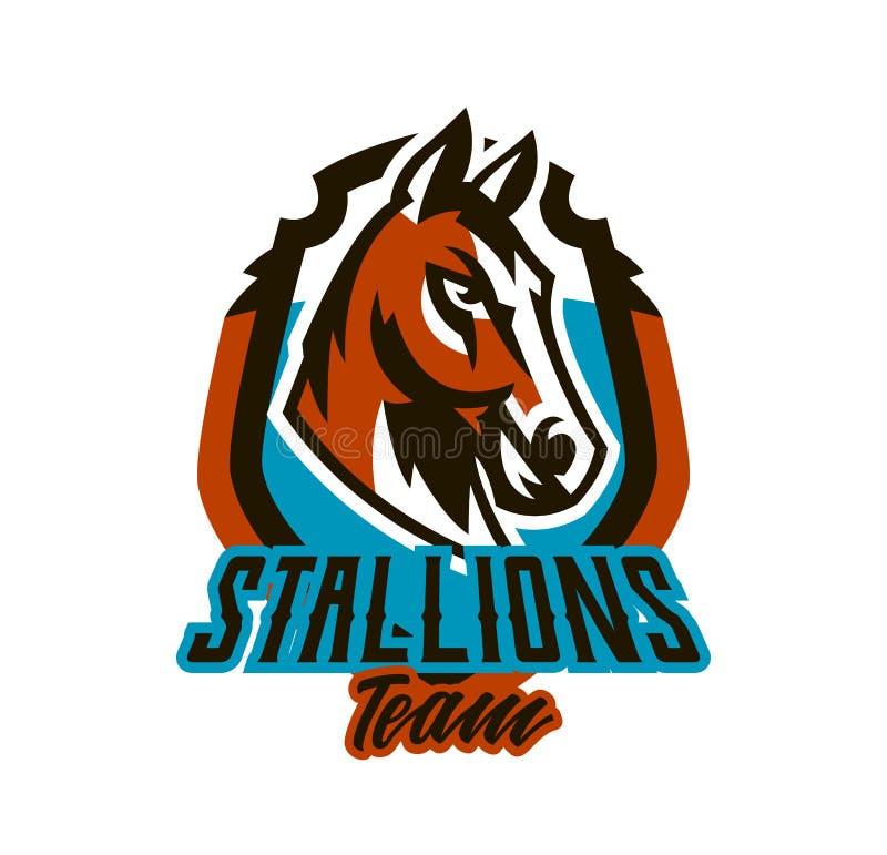 Buntes Logo, Aufkleber, Pferdeemblem Schöner Hengst, Pferderennen, schnelles Tier, Maskottchen des Sportvereins schild stock abbildung
