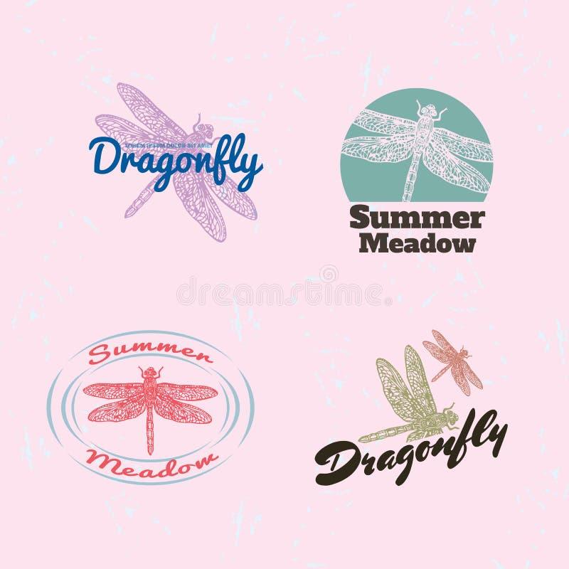 Buntes Logo des Vektors eingestellt mit Sommerstimmung lizenzfreie abbildung