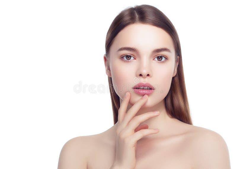Buntes Make-upfrauengesicht, schöne Brunettesommer-Make-up wi stockbild